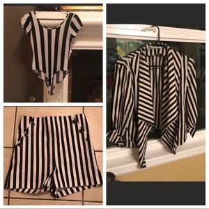Jackets & Blazers - Striped Bodysuit & Jacket